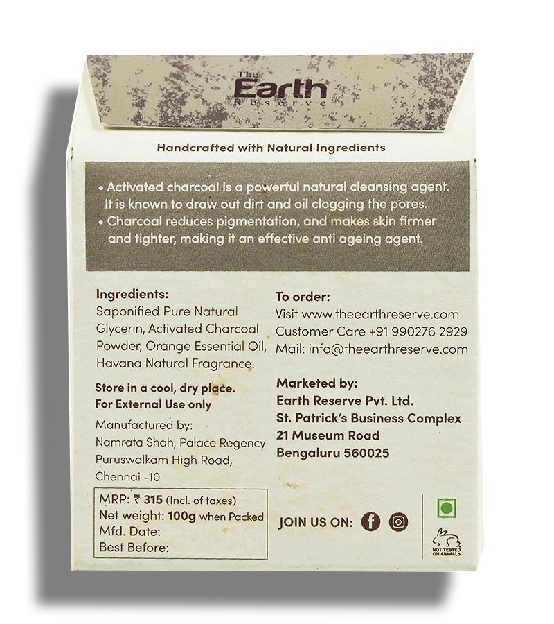 The Earth Reserve + soaps + liquid handwash + Activated Charcoal & Orange Natural Glycerine Soap + 100 gm + discount