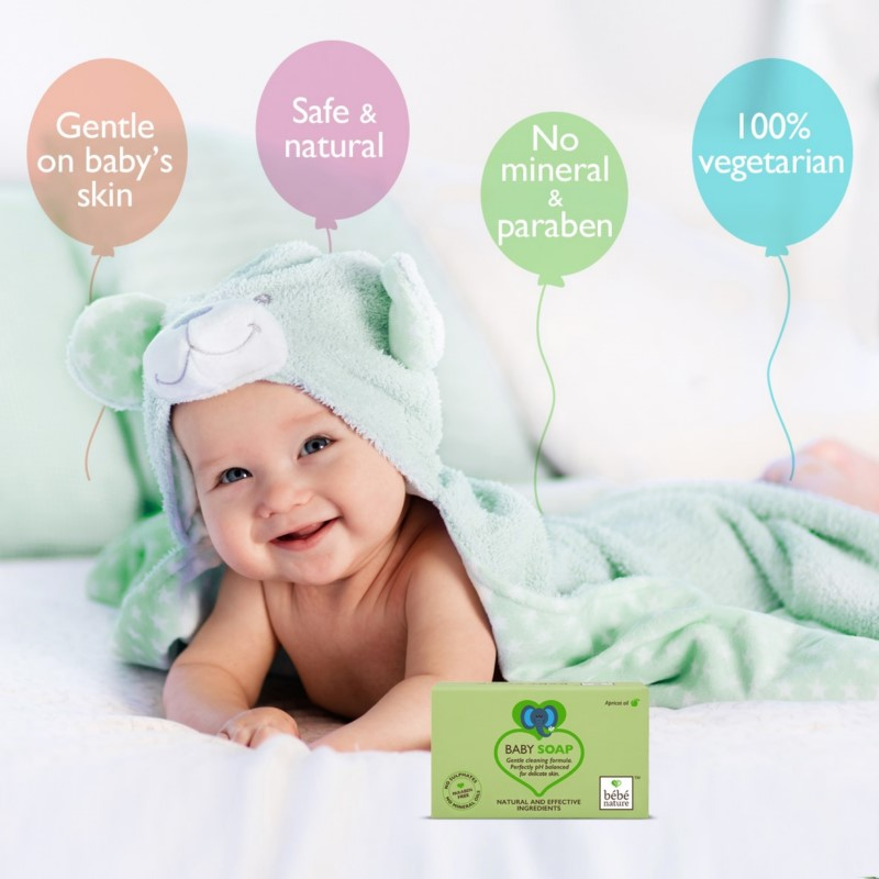 Bebe Nature + baby bath & shampoo + Bebe Nature Natural 100% Veg Baby Soap with Apricot Oil + 100 gm + online