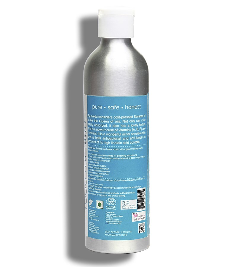 earthBaby + baby oils & creams + 100% Natural origin Cold-Pressed Sesame Oil + 250ml + discount