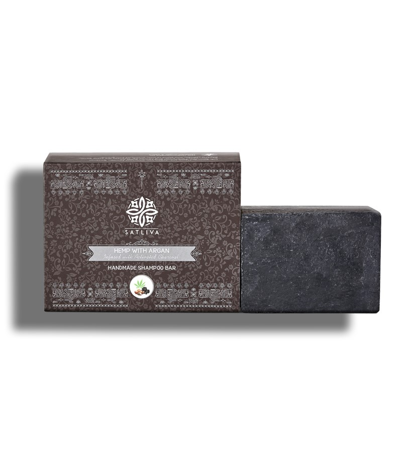 Satliva + shampoo + dry shampoo + Hemp with Argan & Activated Charcoal Shampoo Bar + 100 gm + shop
