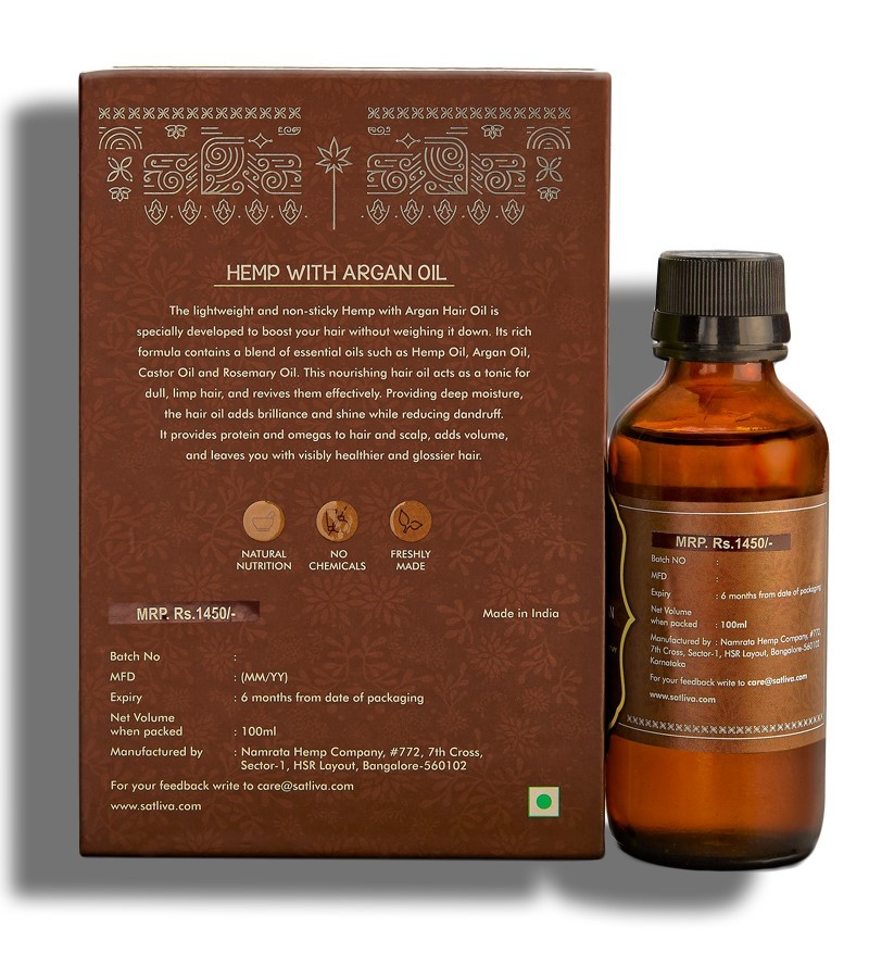 Satliva + hair oil + serum + Hemp With Argan Hair Oil + 100 ml + discount