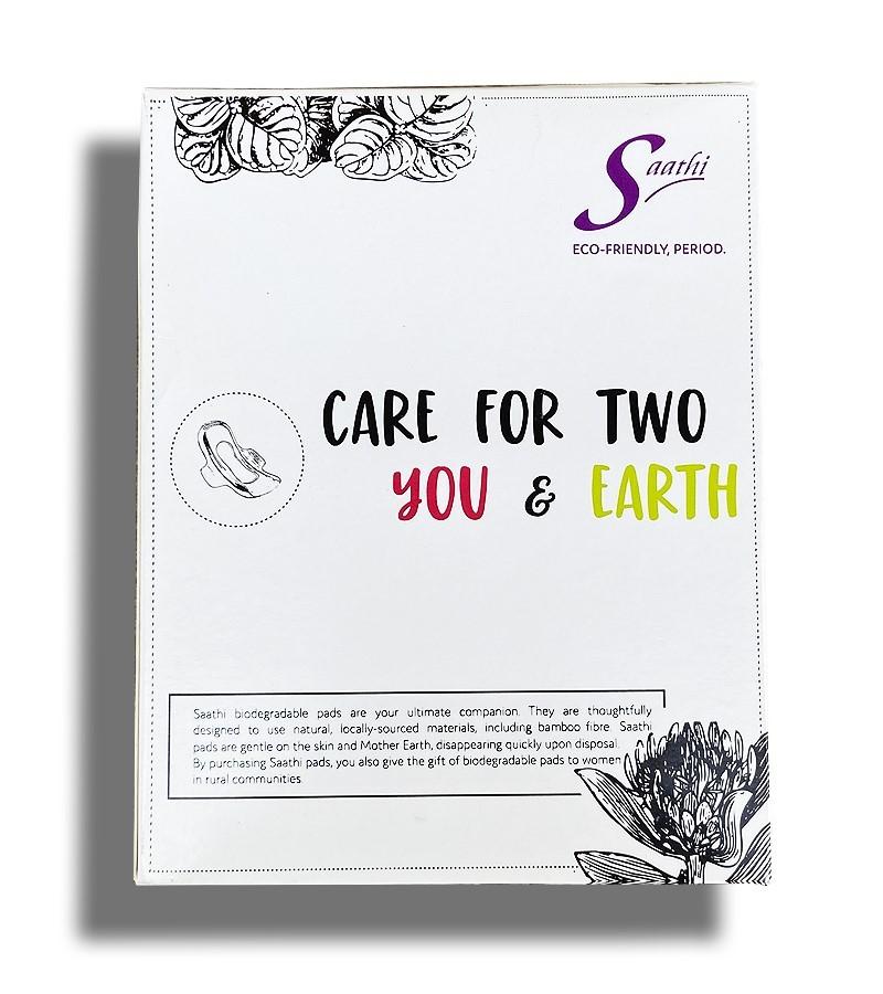 Saathi + women's personal hygiene + Saathi Regular Bamboo Fibre Biodegradable Sanitary Pads + Pack of 12 Pads + shop