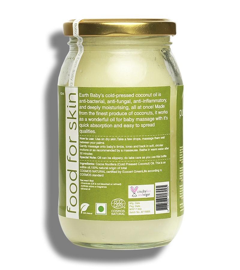 earthBaby + baby oils & creams + 100% Natural origin Cold-Pressed Coconut Oil + 400ml + discount