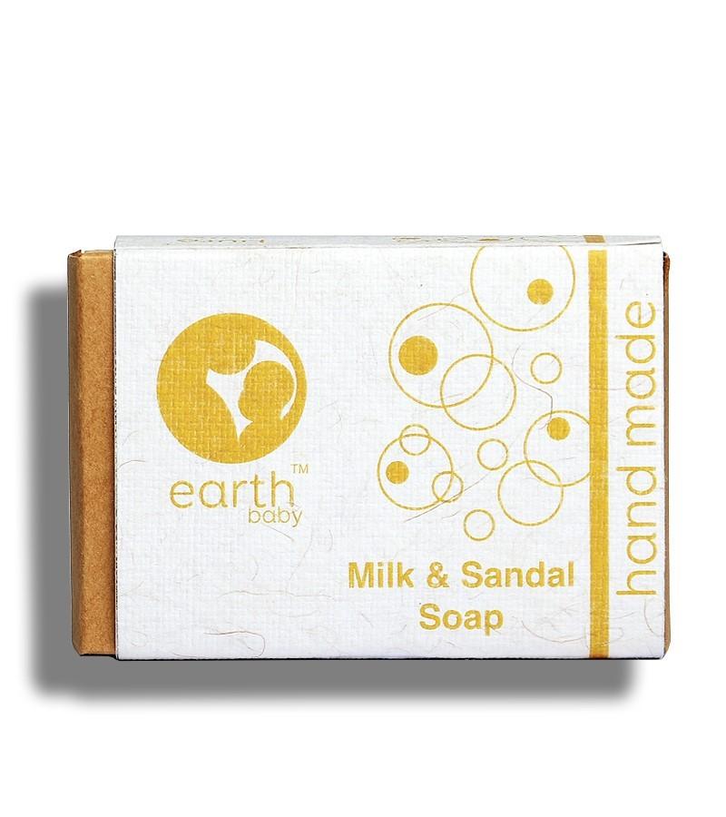 earthBaby + baby bath & shampoo + Milk & Sandal Handmade Soap + 100 gm + buy
