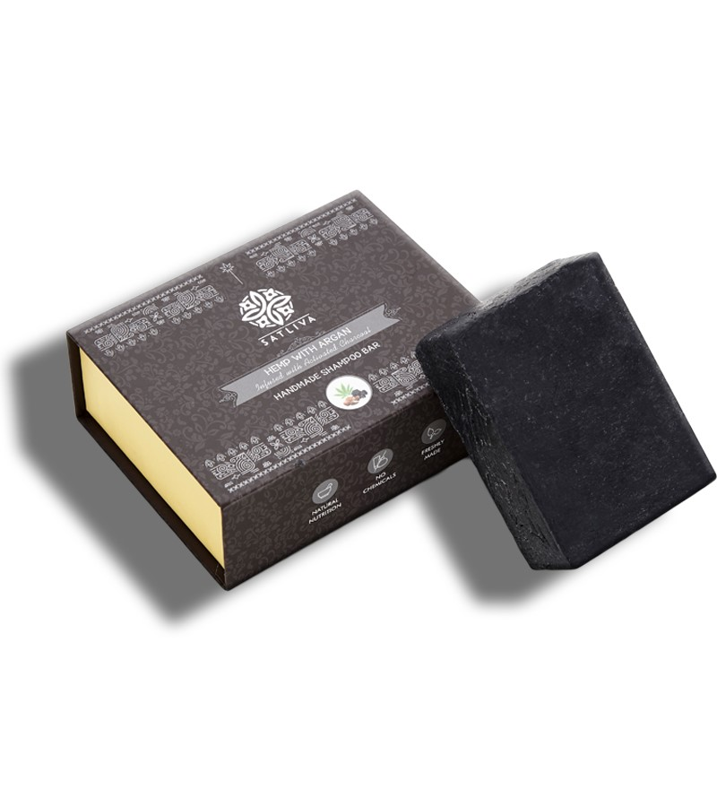 Satliva + shampoo + dry shampoo + Hemp with Argan & Activated Charcoal Shampoo Bar + 100 gm + buy