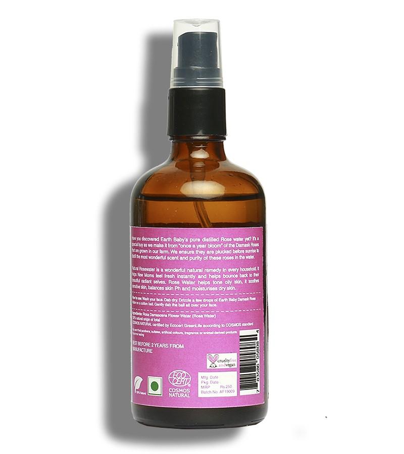 earthBaby + toners + mists + 100% Natural origin Damask Rose Water + 100 ml + discount