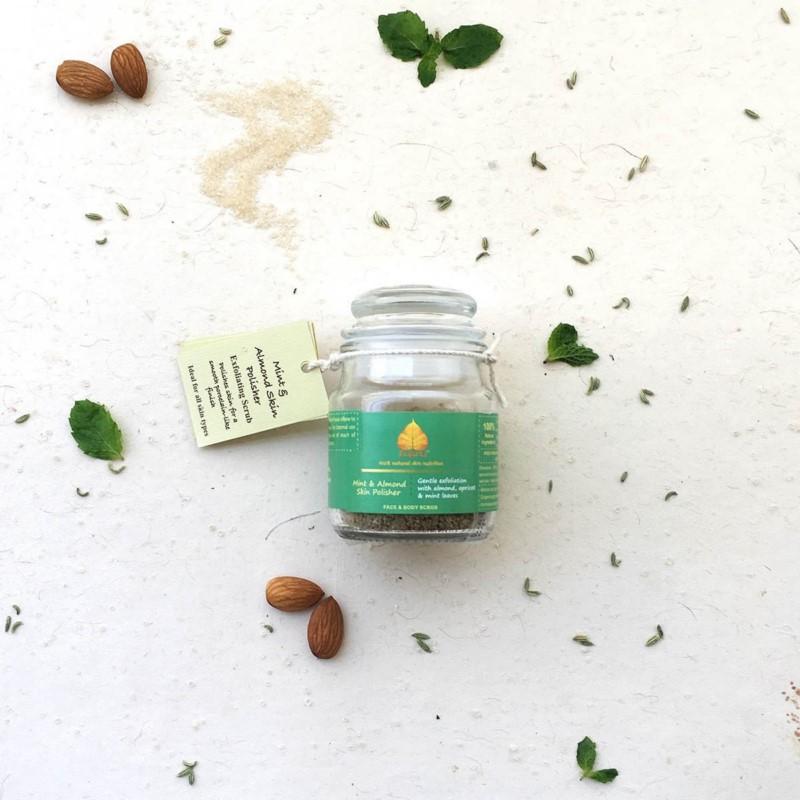Prakrta + body scrubs & exfoliants + Mint & Almond Skin Polisher - Face & Body Scrub   Gentle exfoliation with almond, apricot and refreshing mint + 90 gm + discount