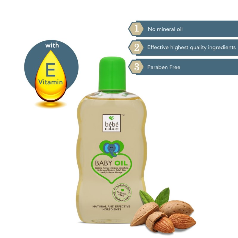 Bebe Nature + baby oils & creams + Bebe Nature Natural Baby Massage Oil with Sweet Almond Oil & Natural Vitamin E + 120 ml + shop