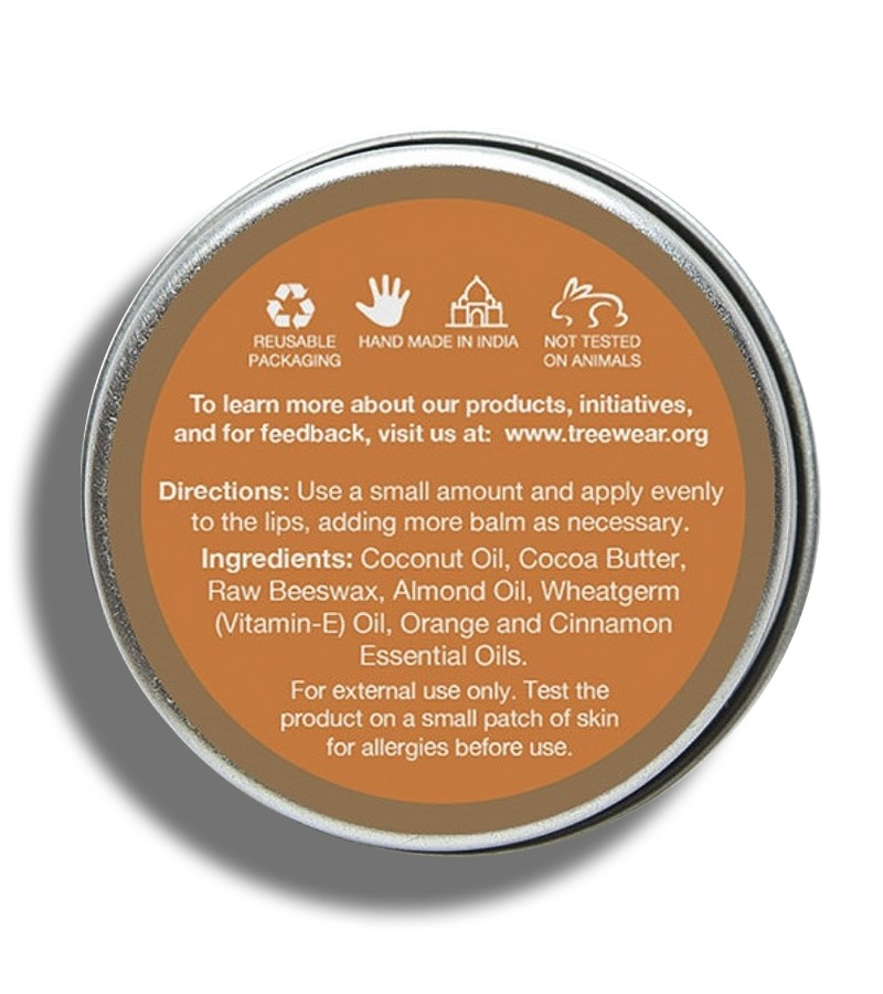 Treewear + lip balms & butters + Beeswax Lip Balm - Orange & Cinnamon + 15 gm + discount
