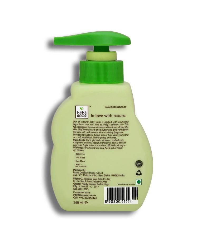 Bebe Nature + baby bath & shampoo + Bebe Nature Natural Baby Wash Gentle Cleansing Formula (Tear Free) + 260 ml + discount