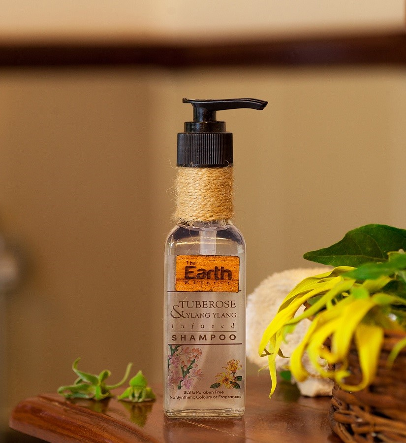 The Earth Reserve + shampoo + dry shampoo + Tuberose & Ylang Ylang Infused Shampoo + 100 ml + discount