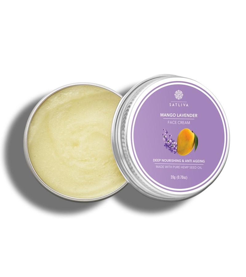 Satliva + face serums + face creams + Mango Lavender Face Cream + 20g + shop