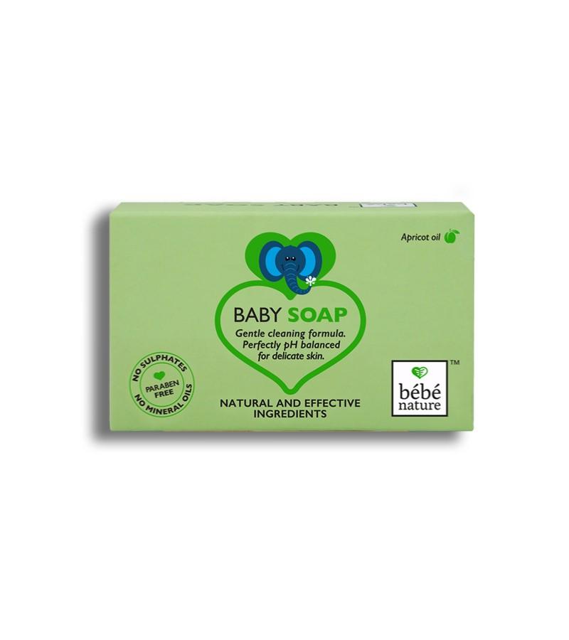 Bebe Nature + baby bath & shampoo + Bebe Nature Natural 100% Veg Baby Soap with Apricot Oil + 100 gm + buy