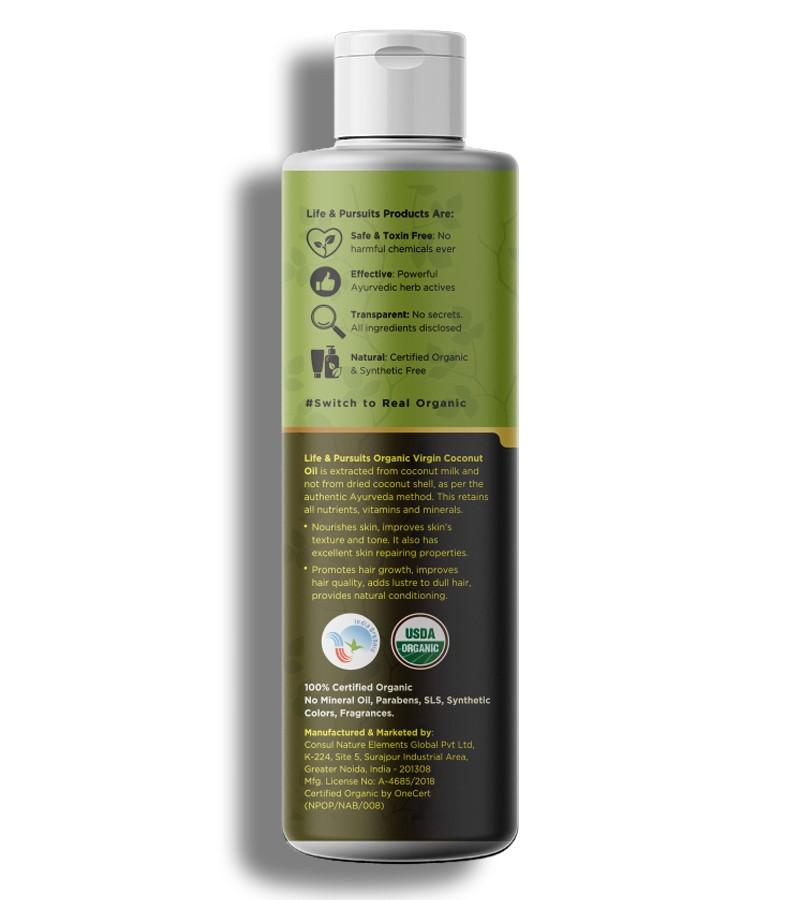 Life & Pursuits + hair oil + serum + Organic Virgin Coconut Oil + 100 ml + shop