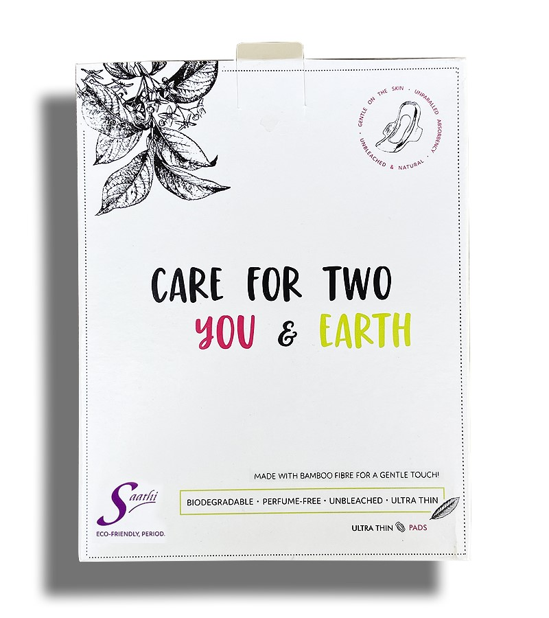 Saathi + women's personal hygiene + Saathi XL Bamboo Fibre Biodegradable Sanitary Pads + Pack of 12 Pads + buy