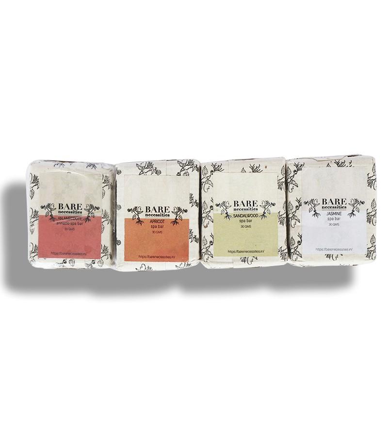 Bare Necessities + soaps + liquid handwash + Pack of 4 Small Spa Bars + 30 gm each + buy