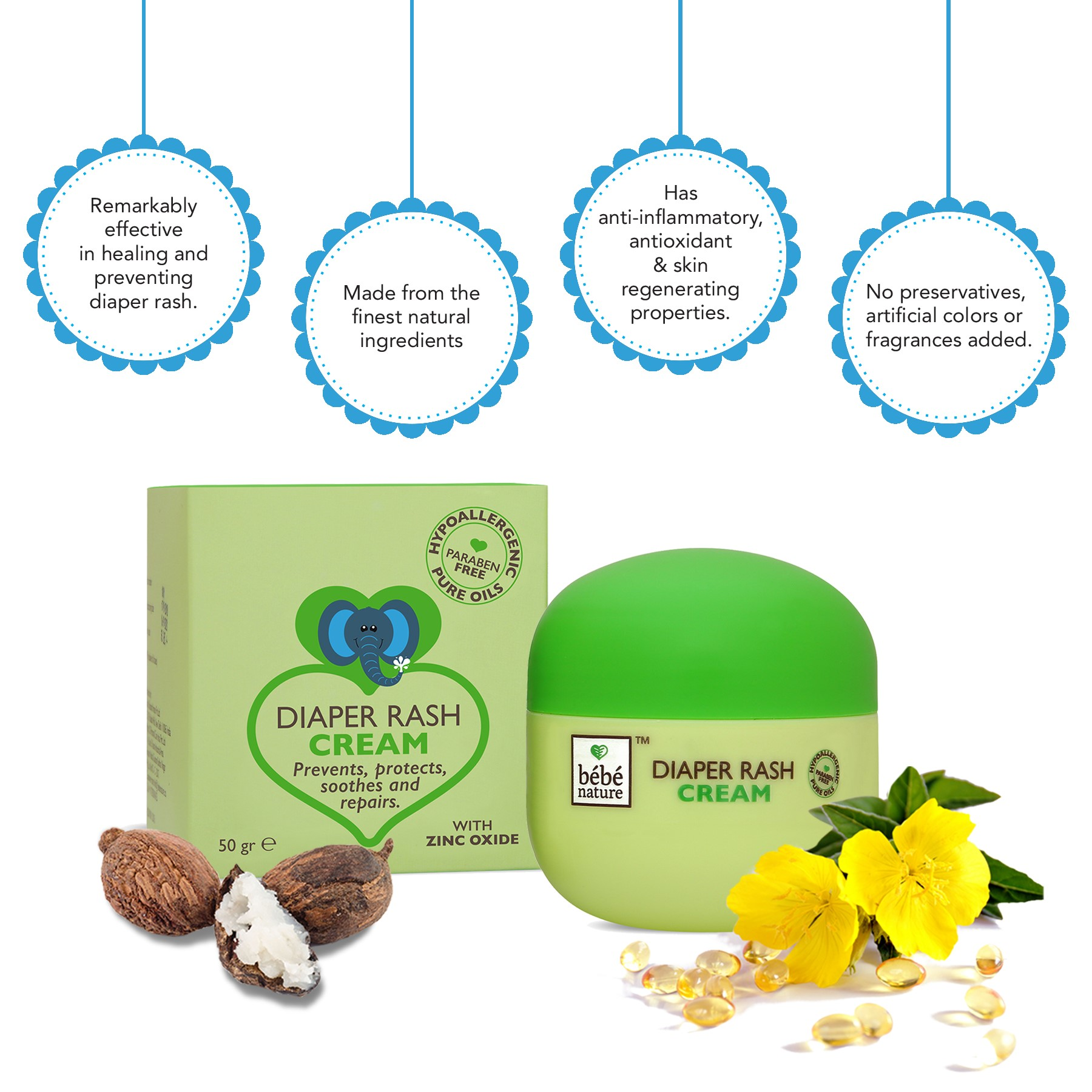 Bebe Nature + baby oils & creams + Bebe Nature Natural Diaper Rash Cream + 50 gm + shop
