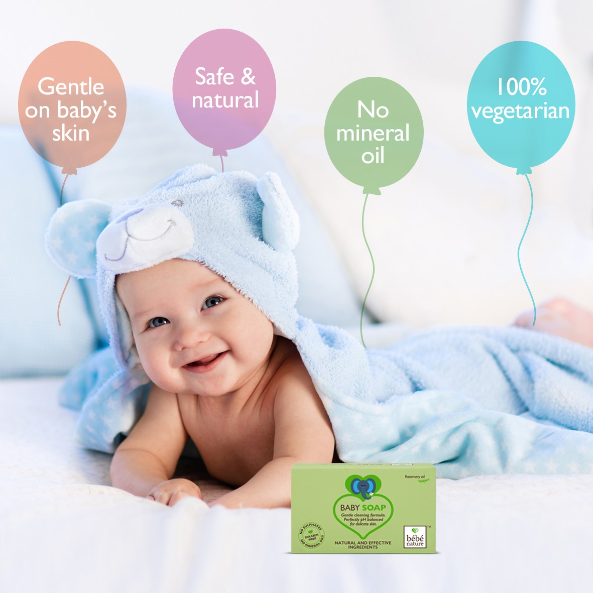 Bebe Nature + baby bath & shampoo + Bebe Nature Natural 100% Veg Baby Soap With Rosemary Oil + 100 gm + online