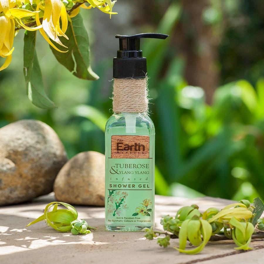 The Earth Reserve + shower gel + body wash + Tuberose & Ylang Ylang Infused Shower Gel + 100 ml + discount